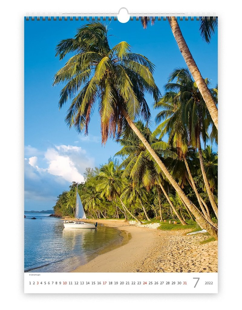 Helma C141-22 Kalpa Wandkalender 2022 Tropische stranden 31.5 x 45 cm