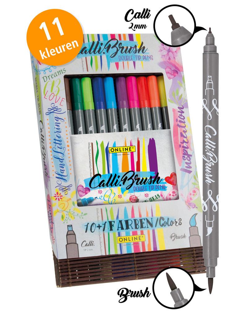 ONLINE Schreibgeräte 11 Calli.Brush pennen dubbele punt in bamboe doos