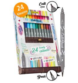 ONLINE Schreibgeräte ONL19082 24 Calli.Brush pennen dubbele punt in bamboe doos