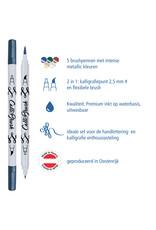 ONLINE Schreibgeräte 5 metallic Calli.Brush pennen dubbele punt in bamboe doos