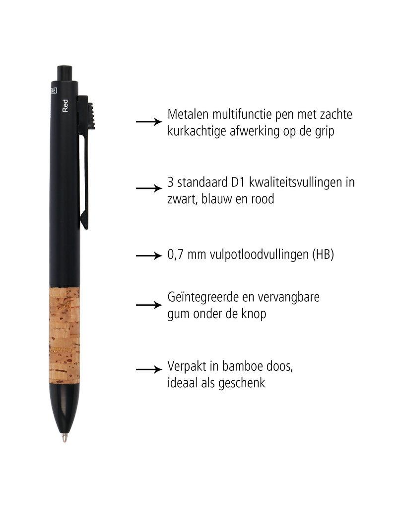 ONLINE Schreibgeräte Multifunctionele pen kurk in bamboe doosje