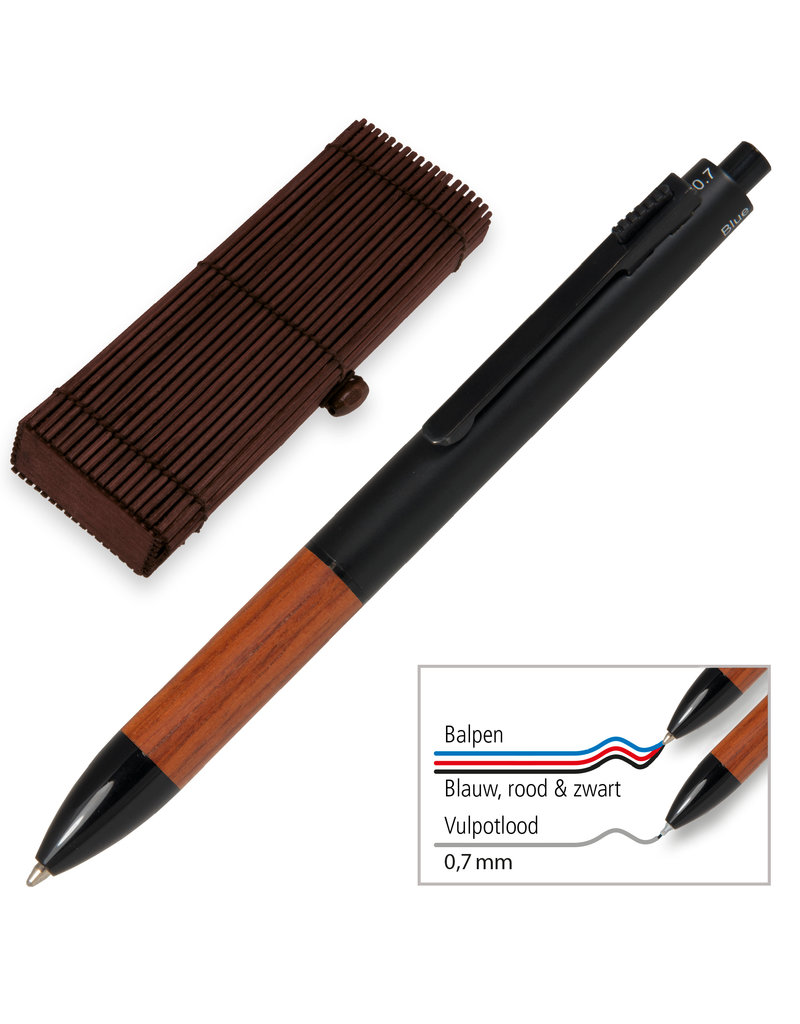 ONLINE Schreibgeräte Multifunctionele Rozenhout in Bamboo Pen Box