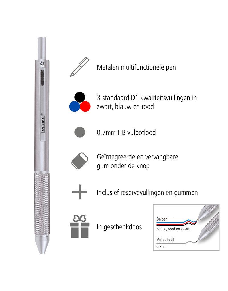 ONLINE Schreibgeräte Multifunctionele pen zilver, 3 kleuren en vulpotlood
