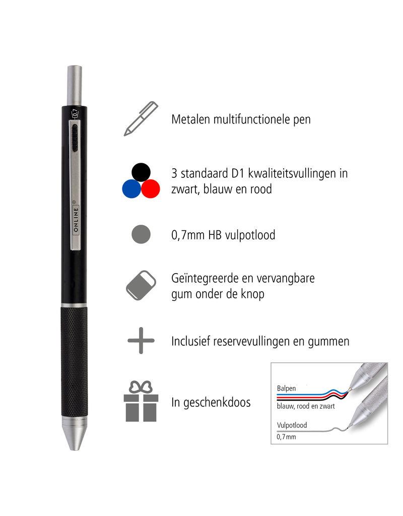 ONLINE Schreibgeräte Multifunctionele pen zwart, 3 kleuren en vulpotlood