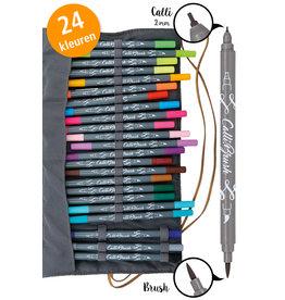 ONLINE Schreibgeräte ONL81463 Calli.Brush dubbele brushpennen set met roletui