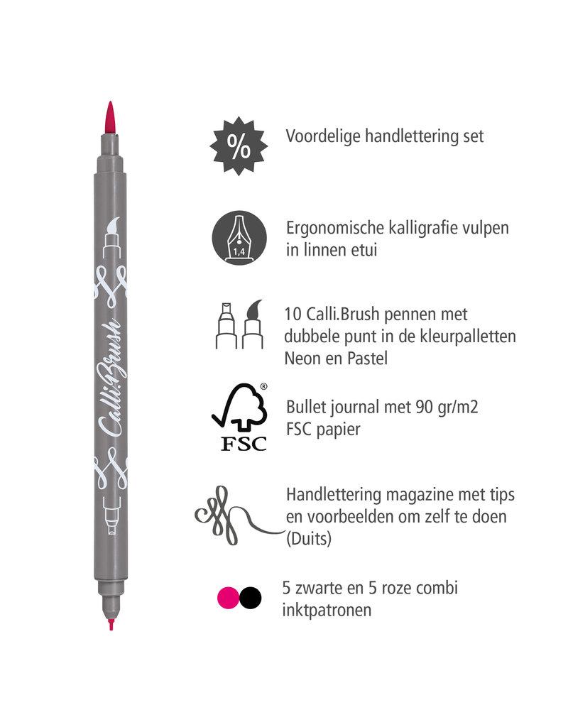 ONLINE Schreibgeräte Handlettering Set, 10 kalligrafie stiften met dubbele punt, kalligrafie vulpen, Bullet Journal, gekleurde inktpatronen, linnen penetui