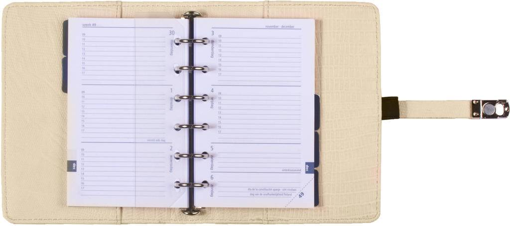 Kalpa 1311-50 Kalpa Junior Pocket Organiser With Paper Fillers, Weekly Planner, Journal, Diary - Croco White