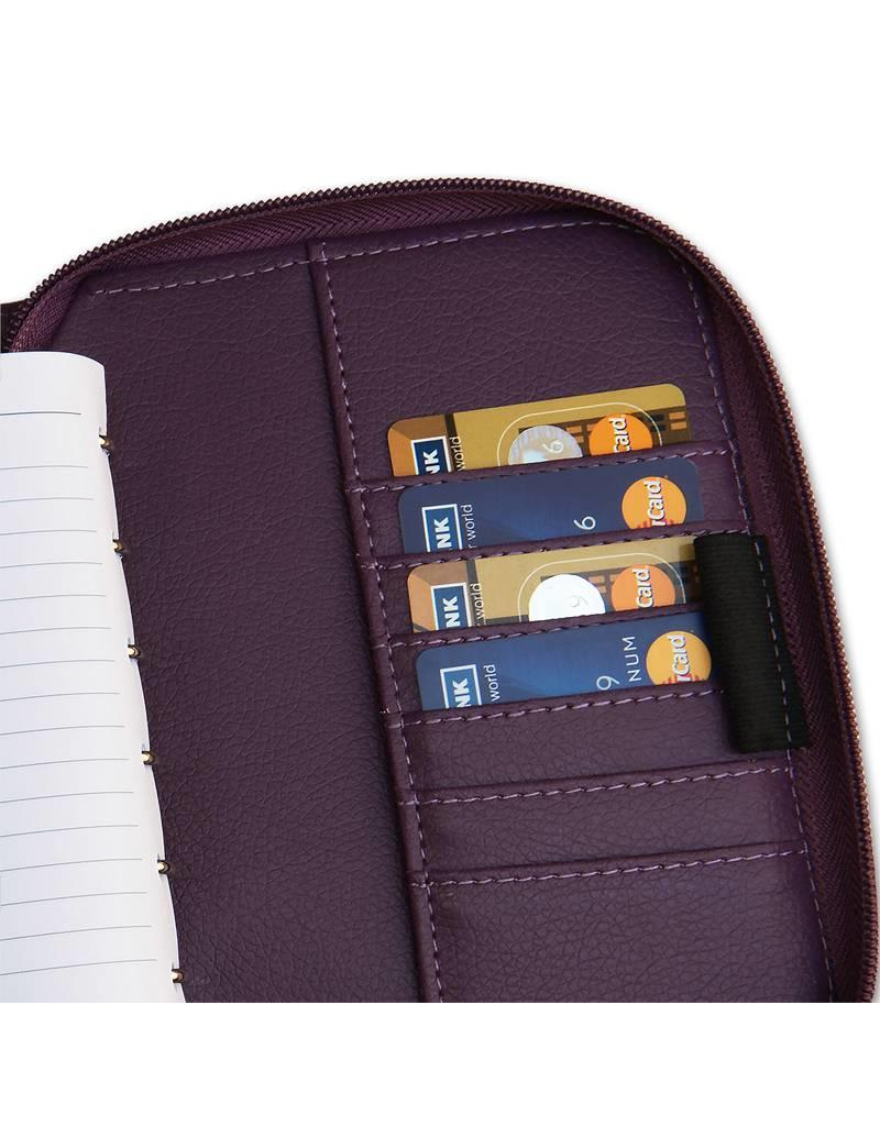 Kalpa 1318-98 Kalpa Junior Pocket Organiser Leather With Zip, Paper Fillers, Weekly Planner, Journal, Diary - Pica Purple