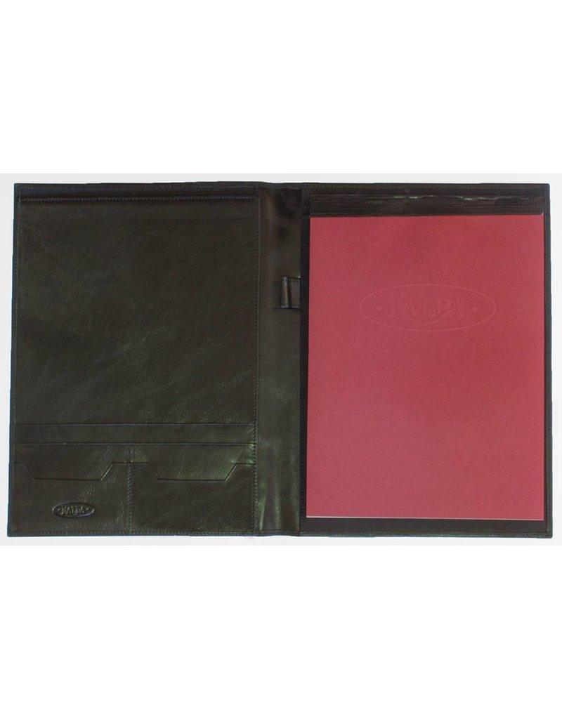 Kalpa Zurich schrijfmap zwart met geweven bruin - leer