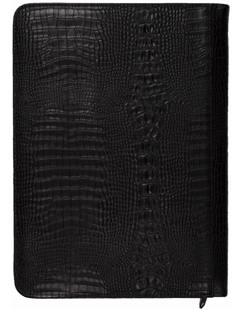 Kalpa Alpstein schrijfmap met rits croco zwart
