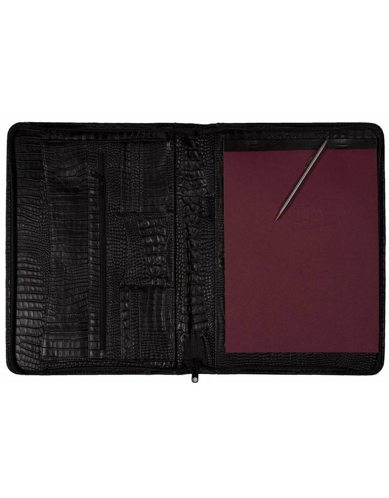 Kalpa 2400-52 Kalpa A4 organiser Alpstein Writing Case Weekly Planner Journal Diary - 33 x 26 cm. - croco zwart