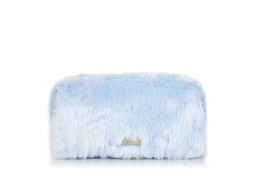 Skinny Dip London Sky Blue Fur Make Up Bag