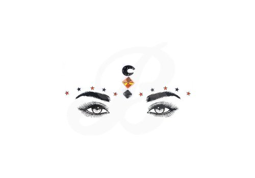 Festival Face Face Gems Moon and Stars Orange Black