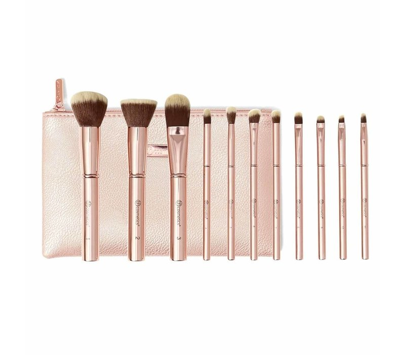 BH Cosmetics Metal Rose Brush Set With Cosmetic Bag