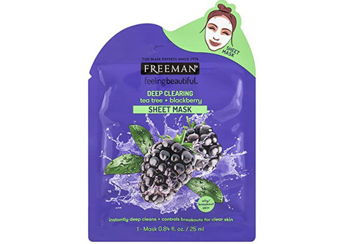 Freeman Sheet Mask Deep Clearing Tea Tree + Blackberry