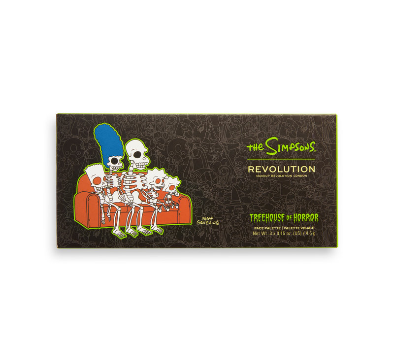 Makeup Revolution x The Simpsons Treehouse Of Horror Collection Fearful Face Palette Spooktacular