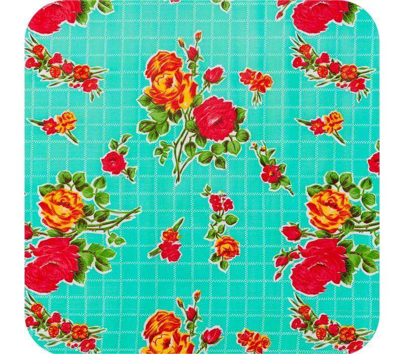 Mexicaans Tafelzeil Rozendal - 120 x 250 cm - Mintgroen