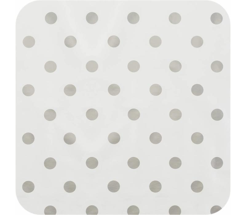 Tafelzeil Grote Stip - Rol - 140 cm x 20 m - Wit/Zilver