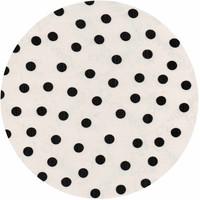 Mexicaans Tafelzeil Rond - Ø 120 cm - Stippen - Wit/Zwart