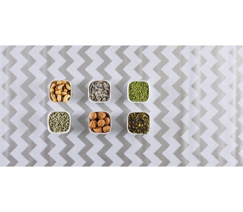 Mexicaans Tafelzeil Zigzag - 120 x 300 cm - Zilver/Wit