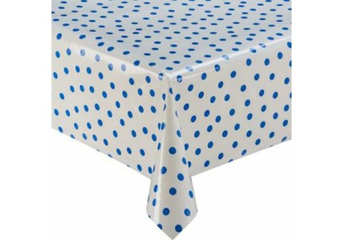 MixMamas Tafelzeil Stippen - 120 x 300 cm - Wit/Donkerblauw