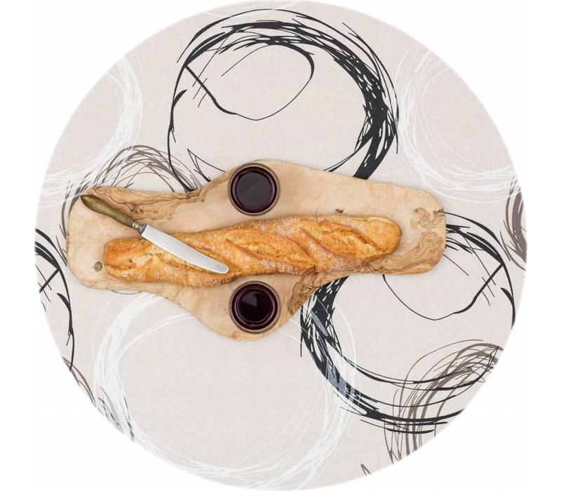 Rond Tafelkleed Gecoat - Ø 140 cm - Painted Circles - Beige/Zwart
