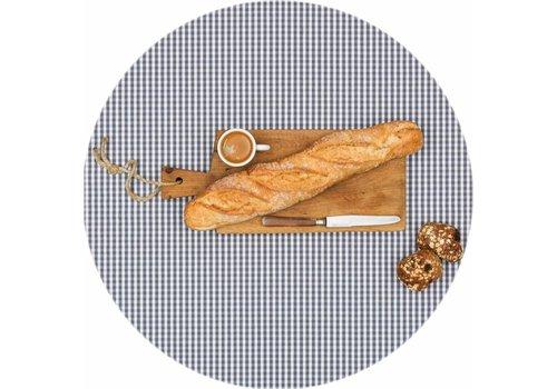 MixMamas Rond Tafelkleed Gecoat - Ø 160 cm - Ruitje - Grijs