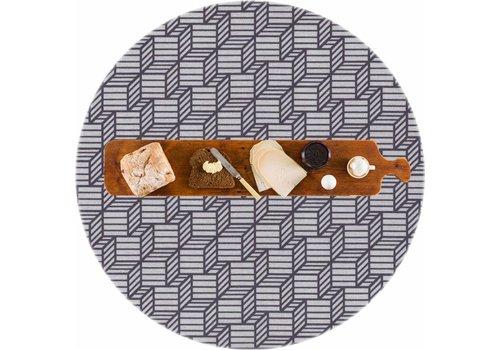 MixMamas Rond Tafelkleed Gecoat - Ø 160 cm - Kubussen - Grijs