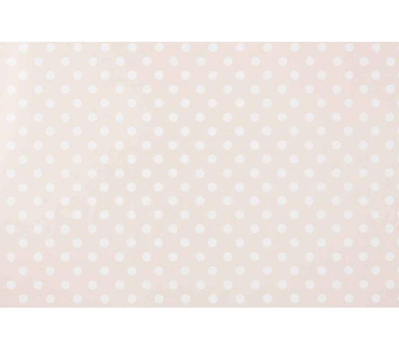 Tafelzeil Grote Stip - Rol - 140 cm x 20 m - Beige/Wit