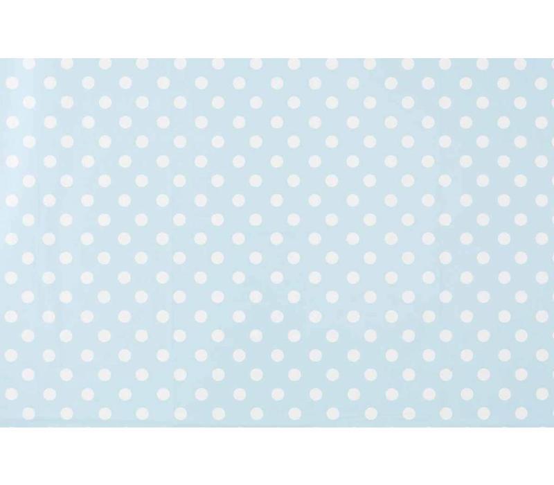 Tafelzeil Grote Stip - Rol - 140 cm x 20 m - Lichtblauw/Wit