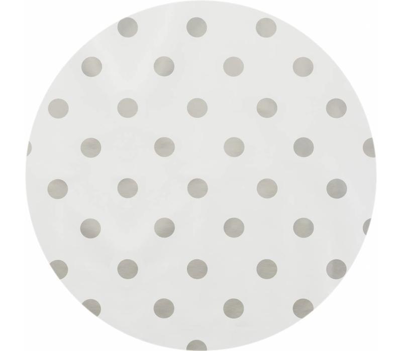 Rond Tafelzeil - Ø 140 cm - Grote Stip - Wit/Zilver