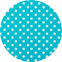 Tafelzeil Rond - Ø 140 cm - Grote Stip - Turquoise/Wit