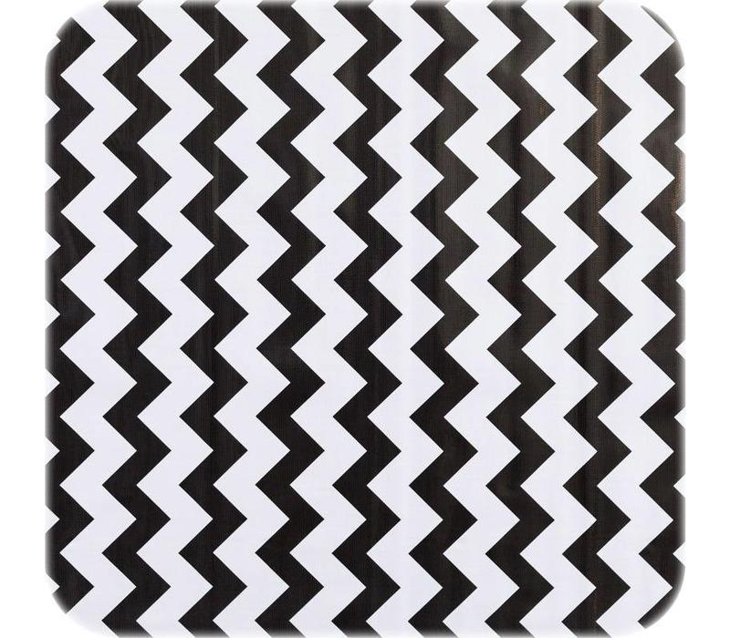 Mexicaans Tafelzeil Zigzag - 120 x 250 cm - Zwart