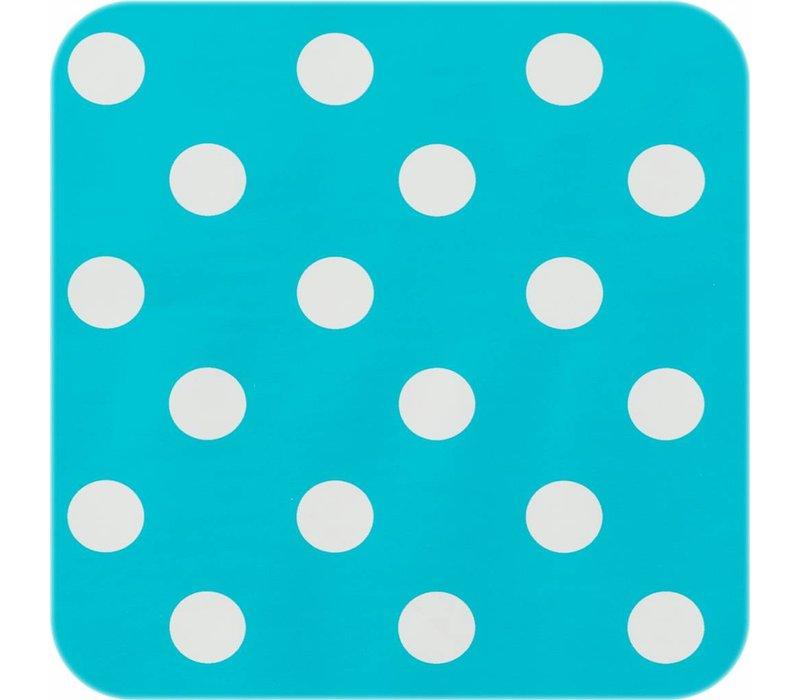 Tafelzeil Grote Stip - Rol - 140 cm x 20 m - Turquoise/Wit
