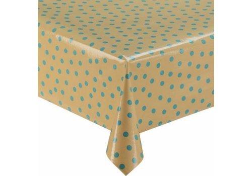 MixMamas Tafelzeil Stippen - Rol - 120 cm x 11 m - Beige/ Lichtblauw