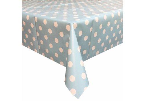 MixMamas Tafelzeil Grote Stip - 140 x 250 cm - Lichtblauw/Wit