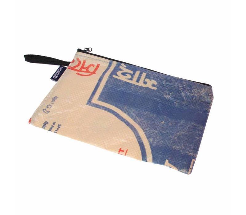 Used2b Cement Taka 3 - Groot Etui - Upcycled- 30 x 19 cm - Blauw