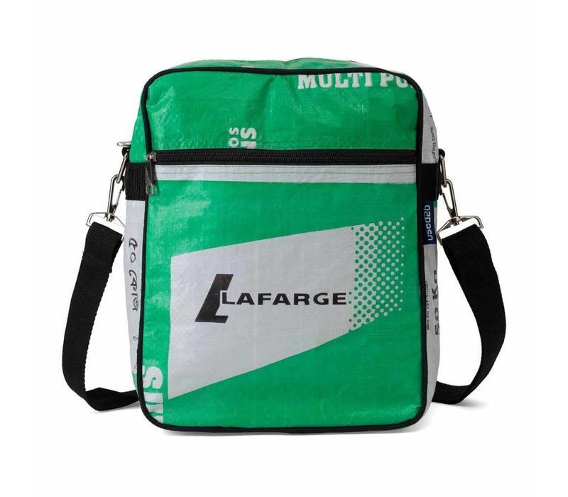 Used2b Messenger Lafarge - Schoudertas upcycled - Cement -26 x 33 cm - Groen