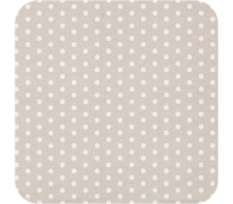 Tafelkleed Gecoat Stippen - 140 x 250 cm - Beige/Wit