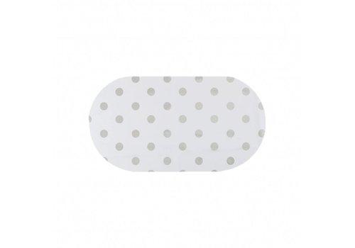 MixMamas Tafelzeil Ovaal - 140 x 200 cm - Grote Stip - Wit/Zilver
