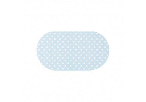 MixMamas Tafelzeil Ovaal - 140 x 200 cm - Grote Stip - Lichtblauw/Wit
