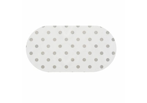 MixMamas Tafelzeil Ovaal - 140 x 250 cm - Grote Stip - Wit/Zilver