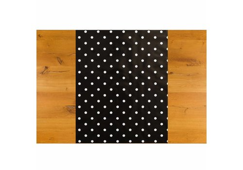 MixMamas Tafelzeil Tafelloper - Grote Stip - Rol - 70 x 500 cm - Zwart/Wit