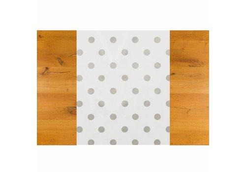 MixMamas Tafelzeil Tafelloper - Grote Stip - Rol - 70 x 500 cm - Wit/Zilver