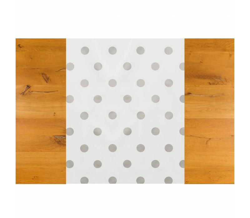 Tafelzeil Tafelloper - Grote Stip - Rol - 70 x 500 cm - Wit/Zilver