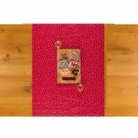 Tafelzeil Tafelloper - Stipjes - Rol - 70 x 500 cm - Rood/Wit