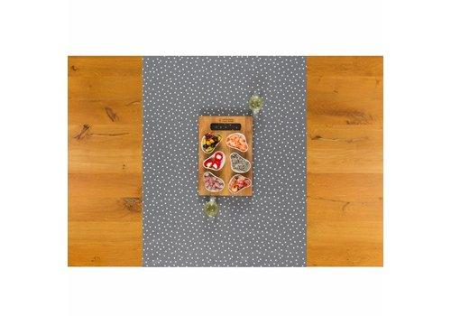 MixMamas Tafelzeil Tafelloper - Stipjes - Rol - 70 x 500 cm - Grijs/Wit