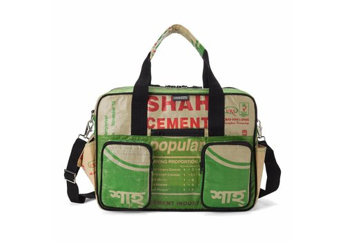 Used2b Used2b College bag Shah - Upcycled - Cement - 40 x 29 cm - Groen