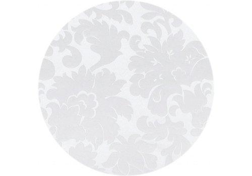 MixMamas Rond Tafelkleed Gecoat - Ø 160 cm - Bloem - Jacquard - Wit