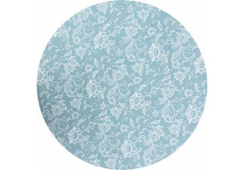 MixMamas Rond Tafelkleed Gecoat - Ø 160 cm - Floral - Blauw